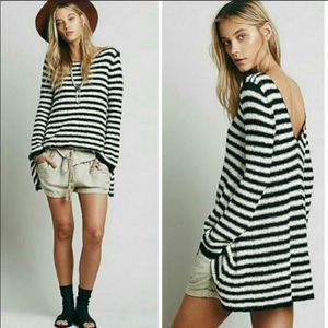 Free People Counting Stripes Tunic Swing Sweater